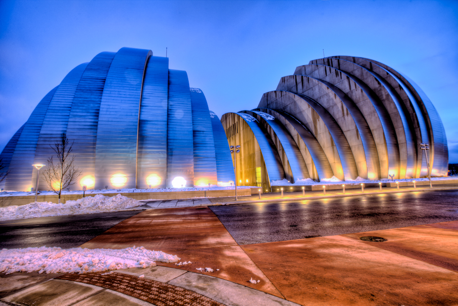 Kauffman Center in the Snow
