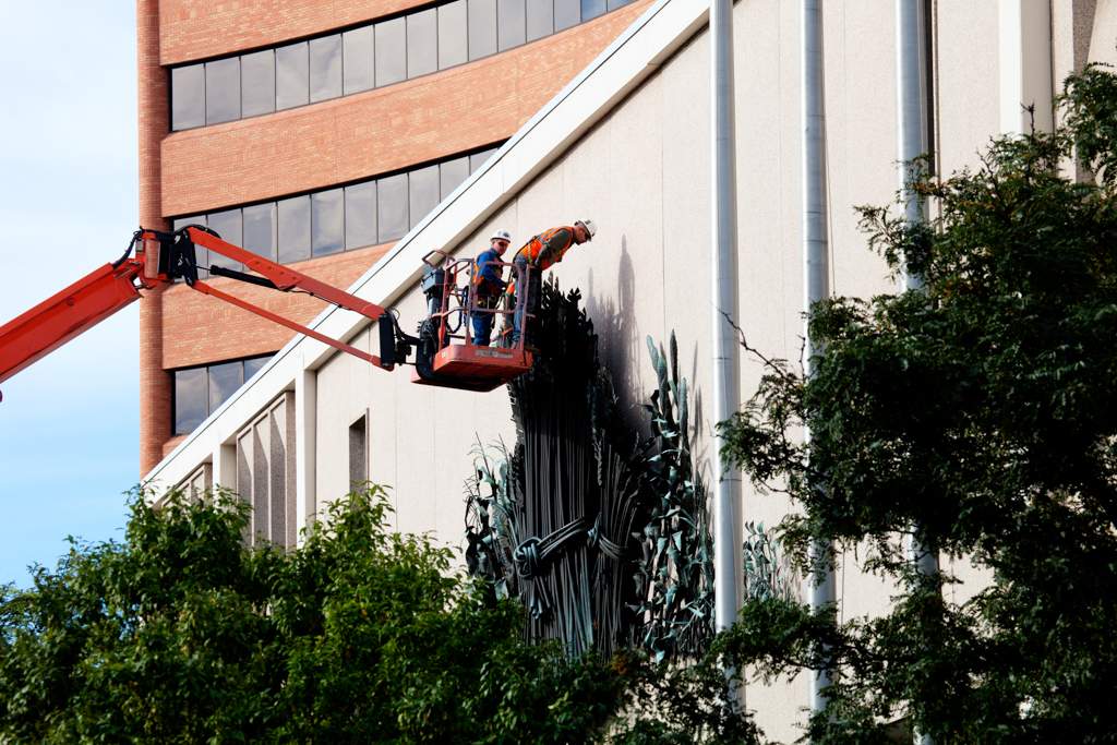 Wheat Sculpture Removal From Kansas City Board Of Trade