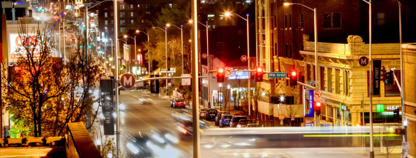 Busy City Street at Night