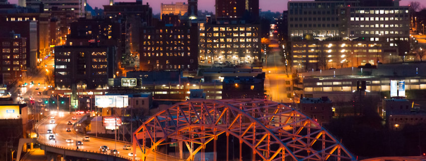 Kansas City's Broadway Bridge at Dusk
