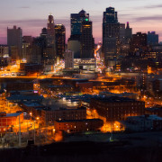 City Skyline at Dusk Aerial Photos