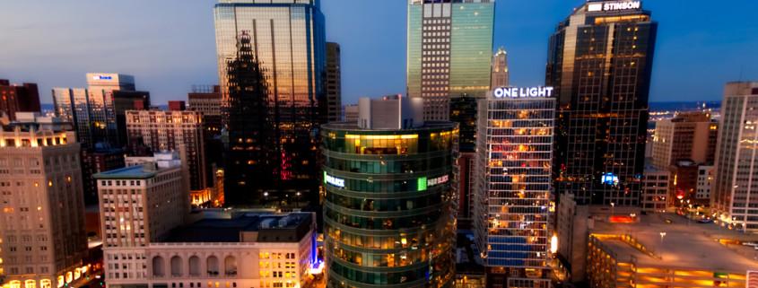 KC Downtown Skyline Aerial Close Up Photos