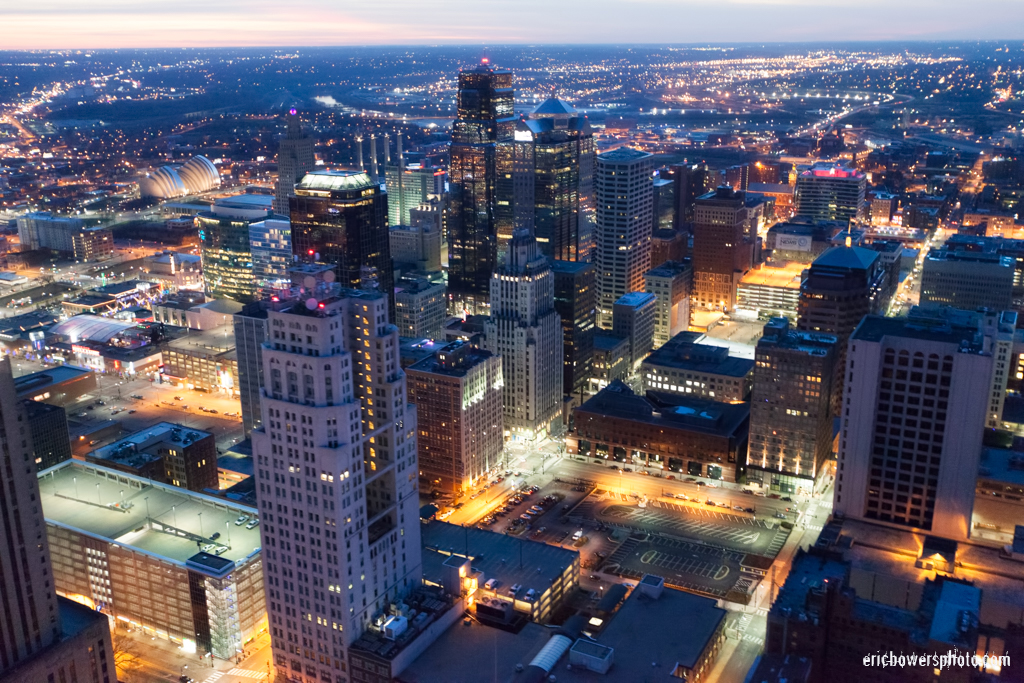 City Skyline Dusk Aerial Photography