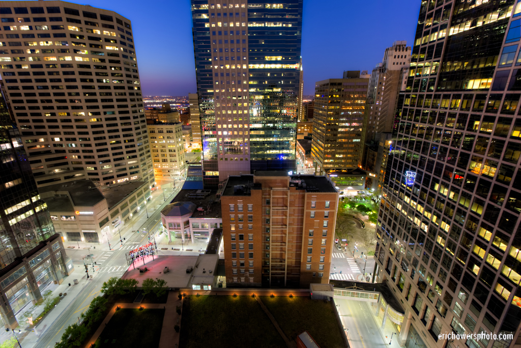 Kansas City Highrise Balcony View at Dusk