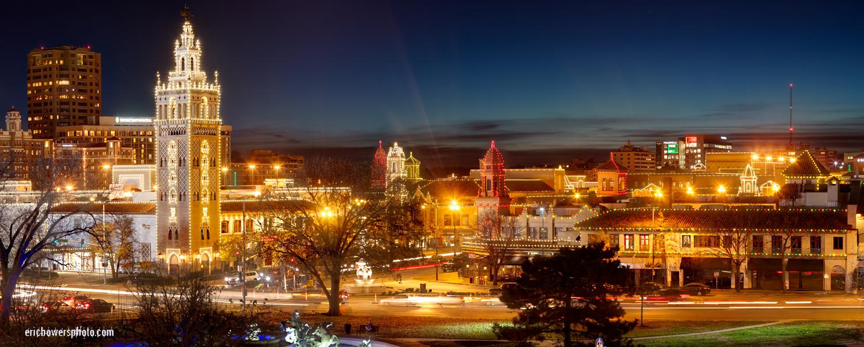 Awesome Kansas City Plaza Lights Panorama Photo
