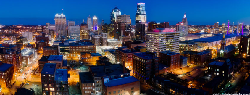 Kansas City's Downtown Dusk Drone's Eye View