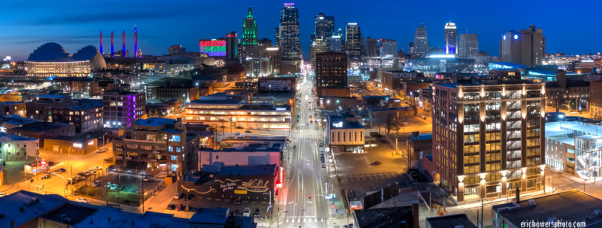 Kansas City Skyline Dusk Panorama Above Main Street