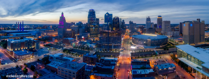 Kansas City MO Dusk Panorama Aerial Pic