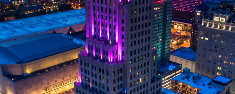 KC Power & Light Building Art Deco with LEDs