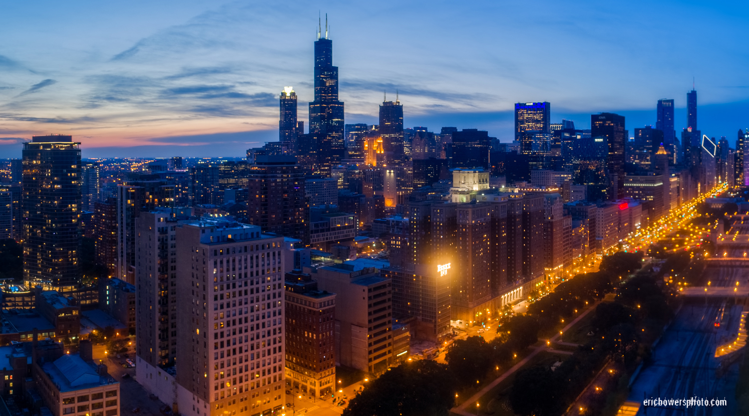 Chicago Loop Skyscraper Dusk Aerial Photo