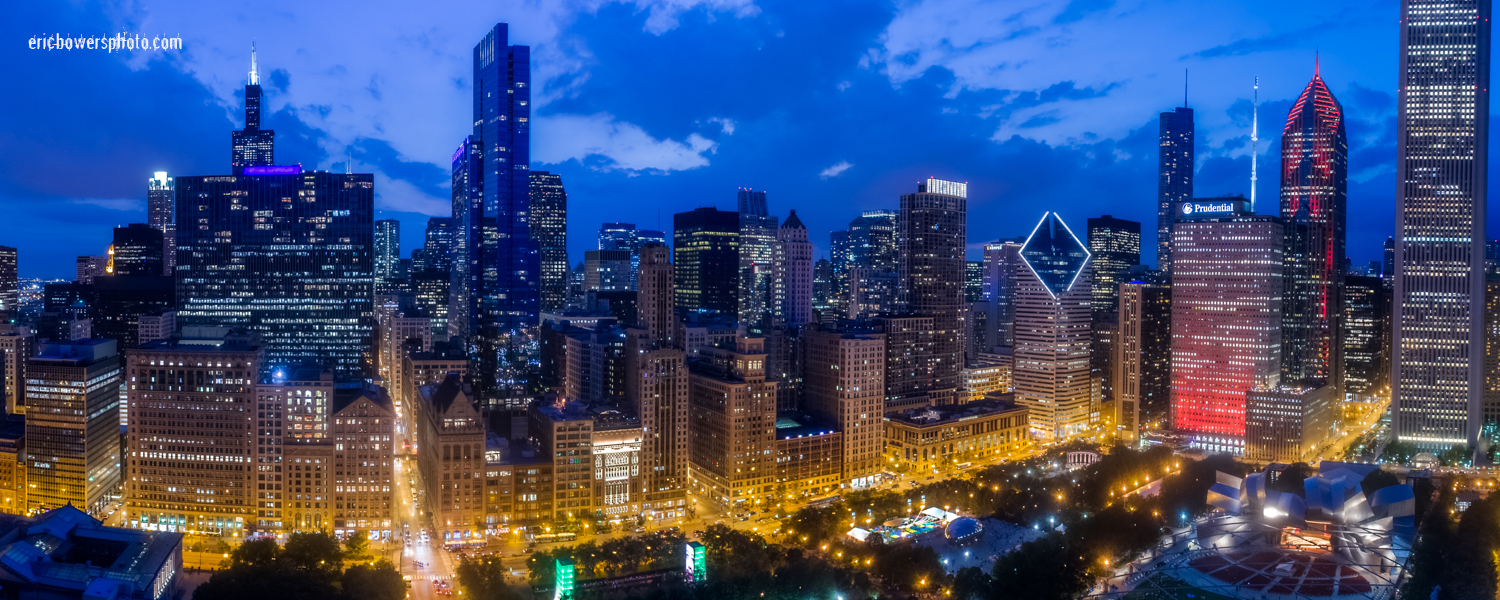 Chicago Loop Skyline Aerial View
