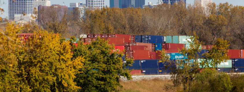 Shipping Containers With Downtown Kansas City MO