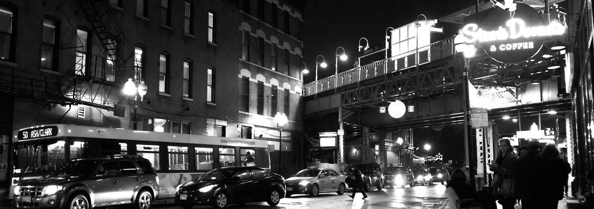 Chicago at Night: Wicker Park Near at Damen Blue Line Pt 1