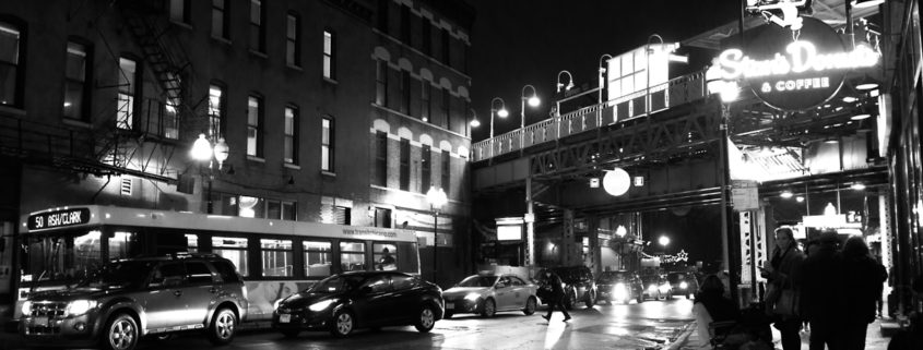 Chicago at Night: Wicker Park Near at Damen Blue Line Pt 1