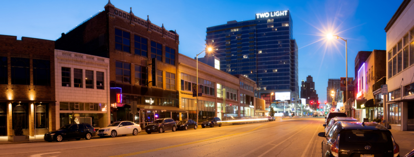 Kansas City Downtown from Grand with Two Light