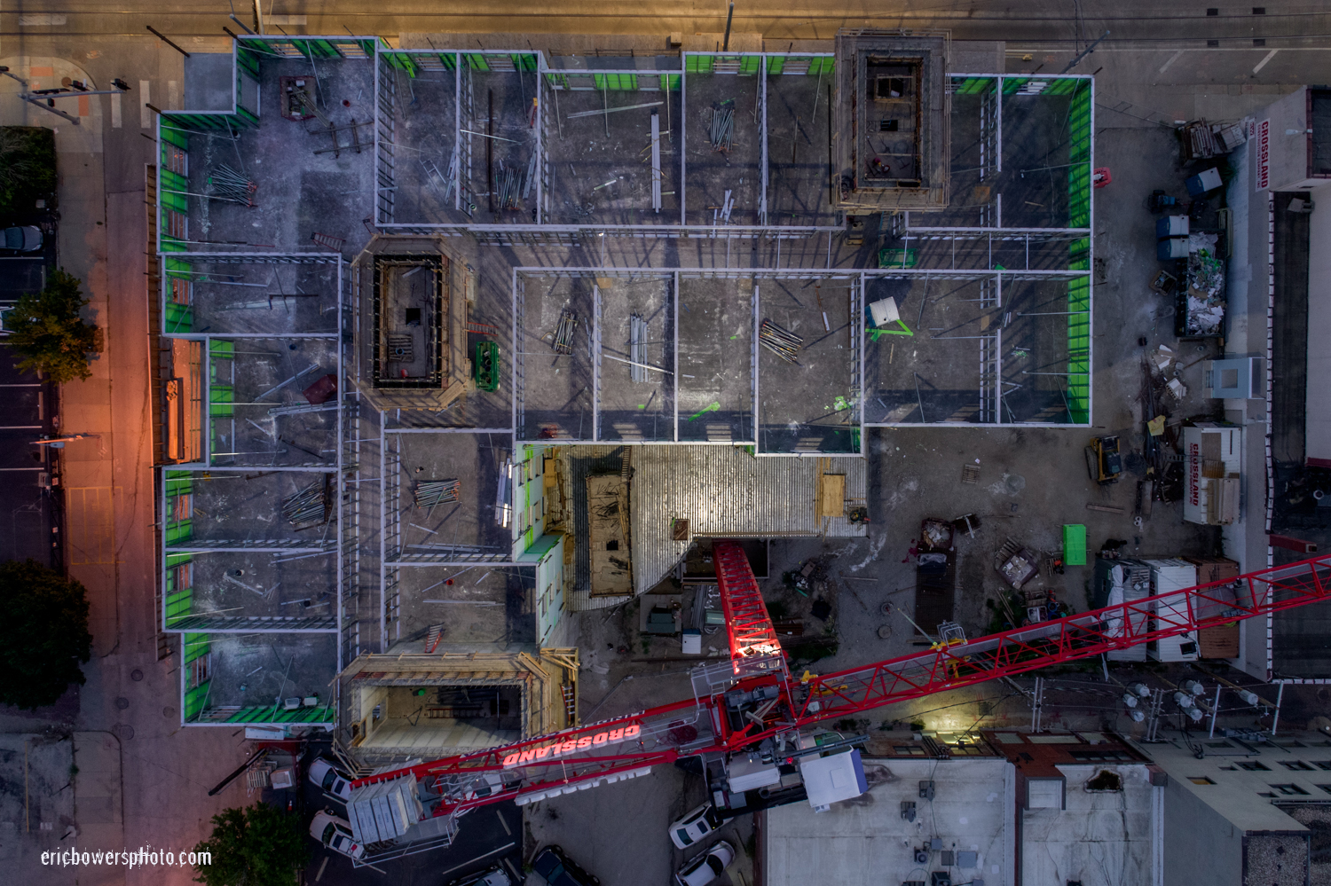 Flying Camera Above Kansas City Construction Site OR A Flying Camera Above Central Bank Quantitative Easing; A new-fangled Hampton Inn at approx. 16th and Main, Kansas City, Missouri; post foundational yet pre-roofing. Summer 2018.