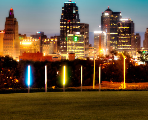 Kansas City MO Skyline at Dusk From Hospital Hill Park