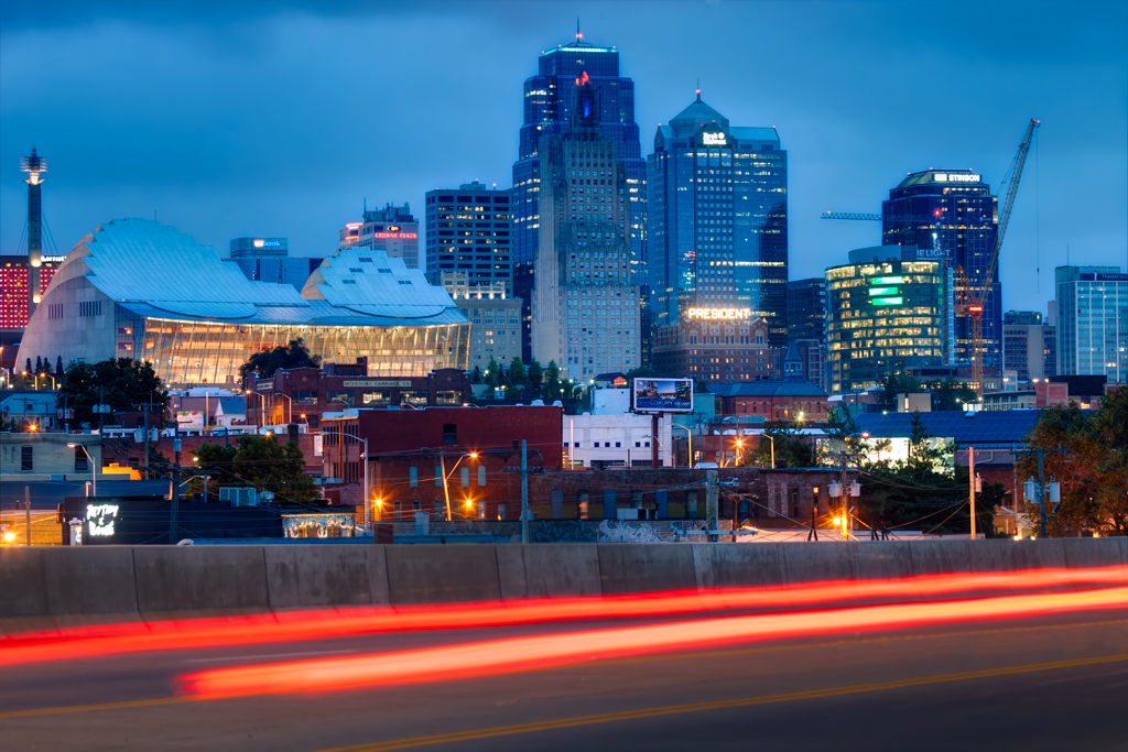 KCMO Skyline & Union Station Trains, June 2015