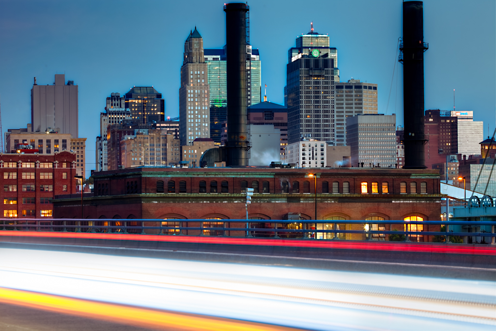 Kansas City Skyline at Dusk with traffic motion light trails