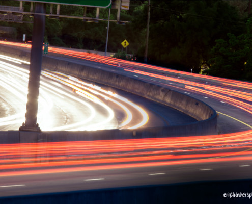 highway traffic motion light trails