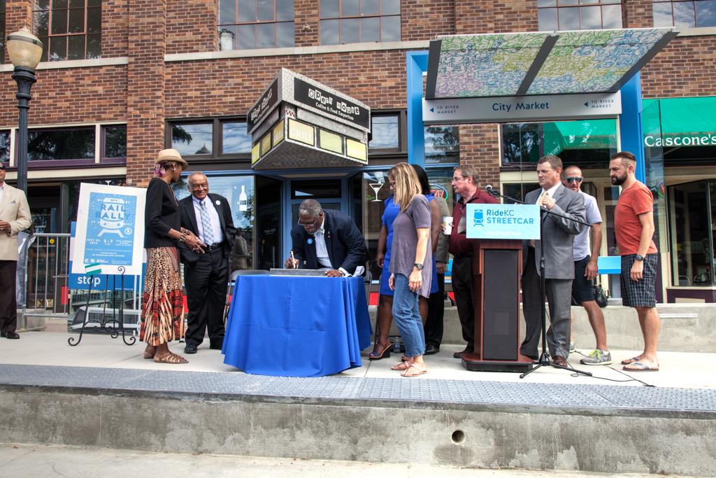 Mayor Sly James & City Council signing rail for Kansas City Streetcar