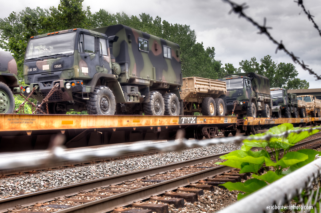Army Trucks on Train