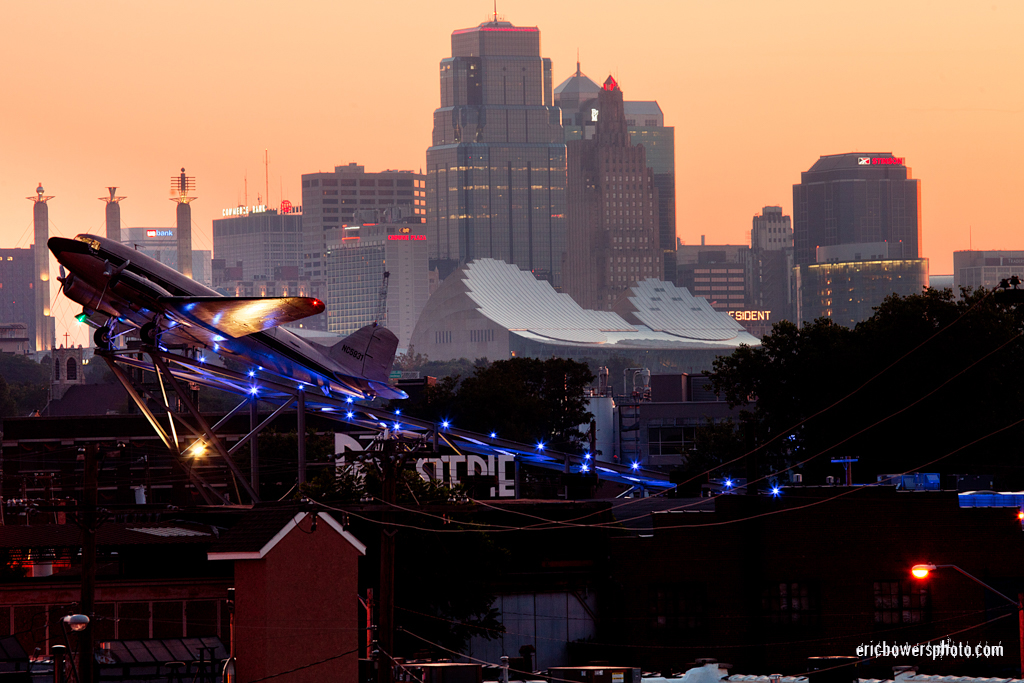 Kansas City Skyline and Roasterie's DC3 Plane