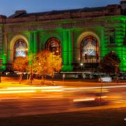 Kansas City Union Station Lit Green for Veteran's Day