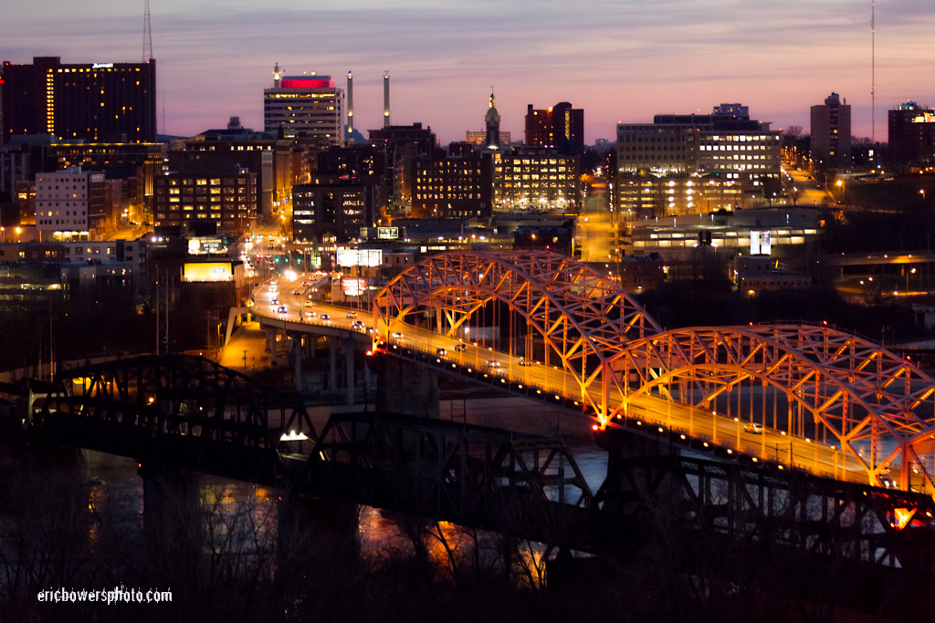 Kansas City's Broadway Bridge at Dusk