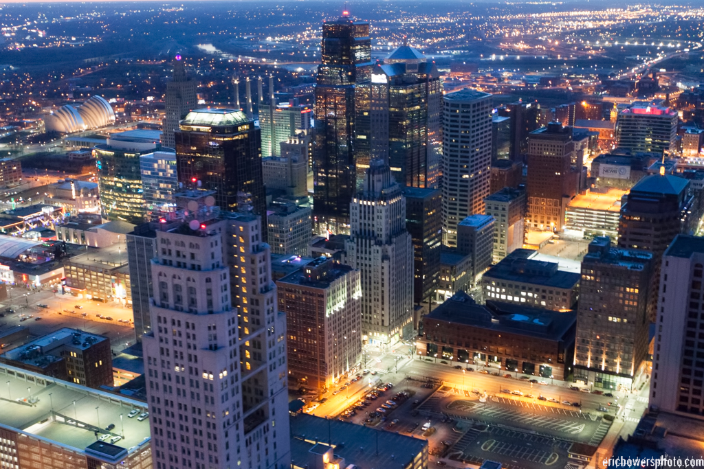 City Skyline Dusk Aerial Photography