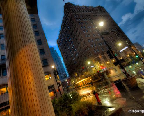 Downtown Kansas City Rainy Urban Intersection