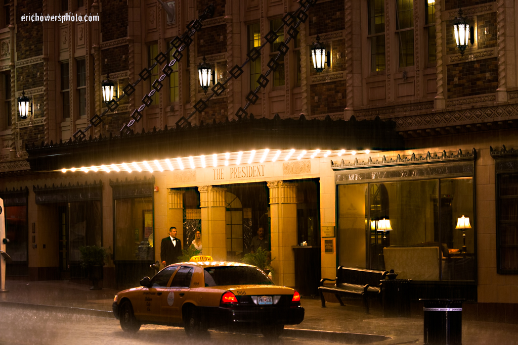 Downtown KC Hotel President on a Rainy Night
