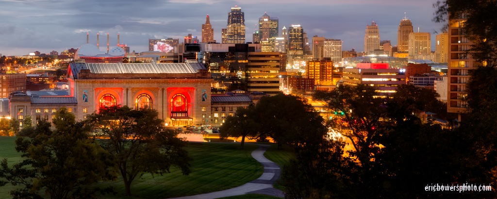 Kansas City Skyline at Dusk with Chiefs Red Lighting