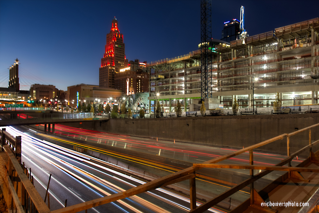 Downtown KC Highway Traffic with Two Light Construction