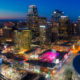 Drone Aerial View of Downtown Kansas City Skyline