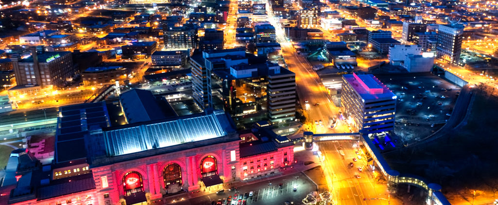Kansas City Chiefs Red LED Lighting Aerial Pics