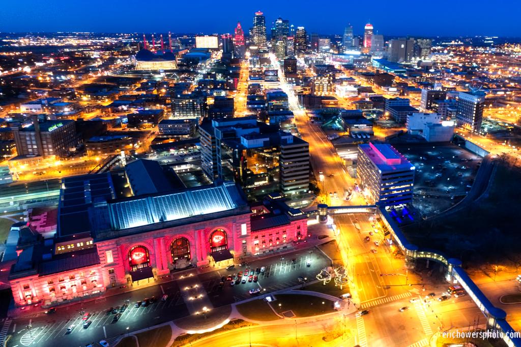 Kansas City Chiefs Red LED Lighting Aerial Pics