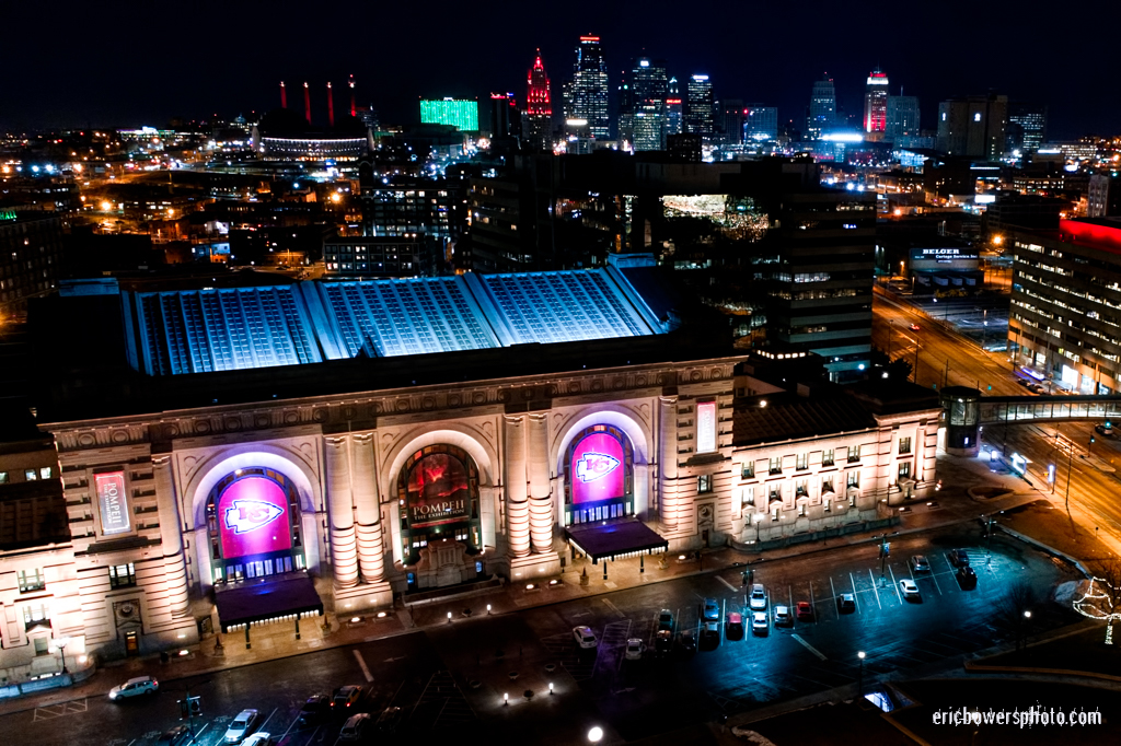 Kansas City Union Station Elevated View at Night