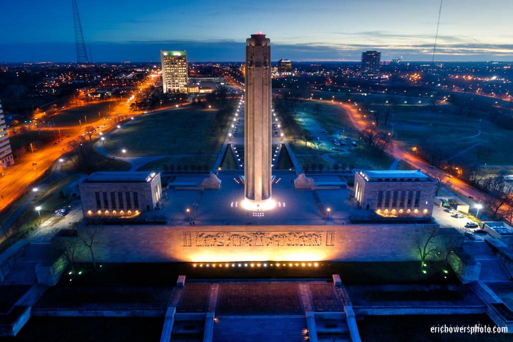 Kansas City Liberty Memorial WW1 Monument Aerial View