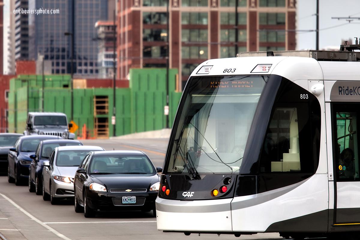 CAF Urbos Streetcars on Kansas City Main Street Line