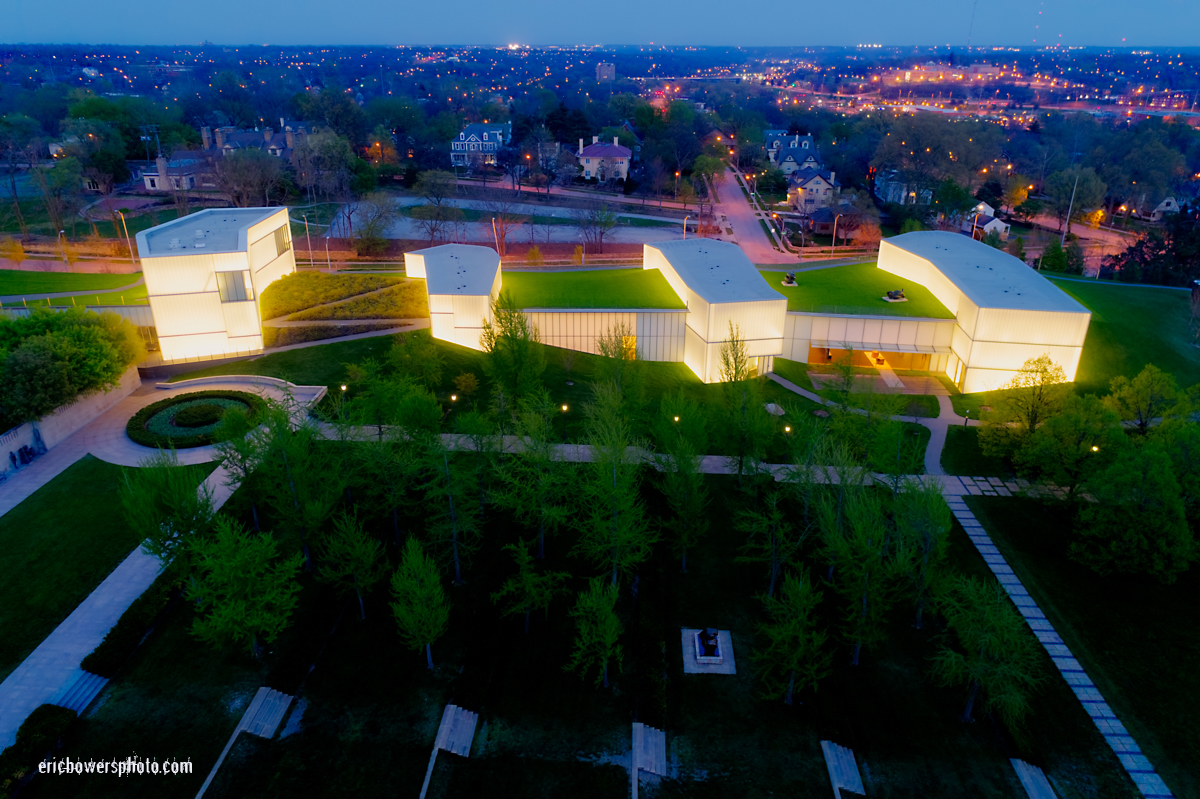 Kansas City Nelson Atkins Museum Dusk Aerial Views