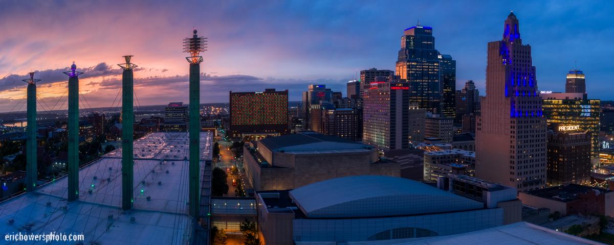 Kansas City Skyline and Convention Center Aerial