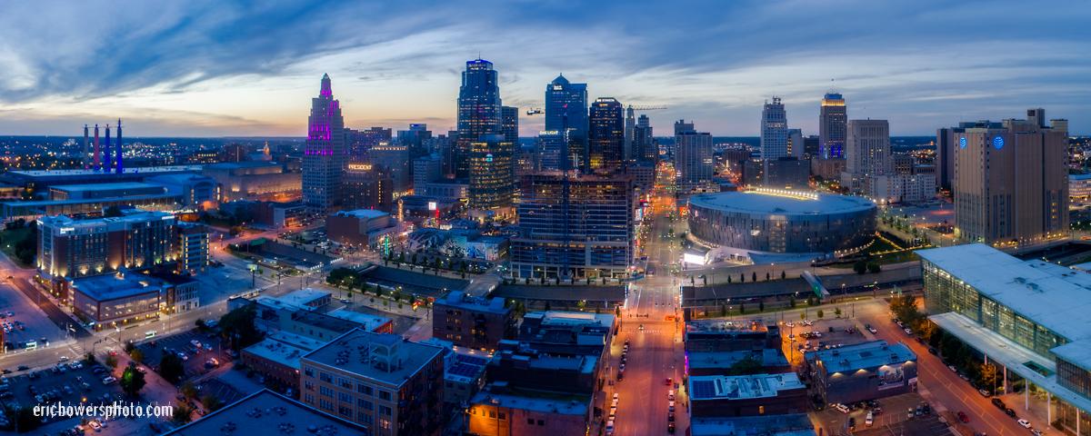 Kansas City MO Dusk Panorama Aerial Pic