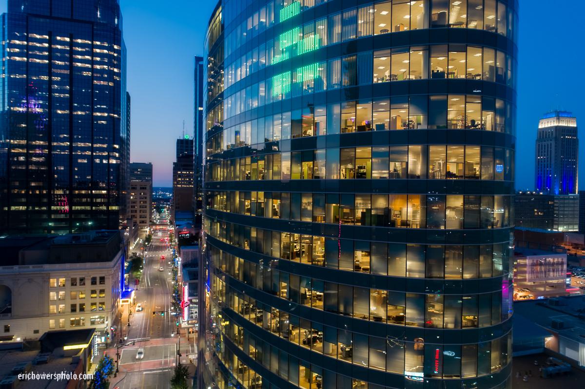 H&R Block Building & Downtown Kansas City MO Dusk Aerials