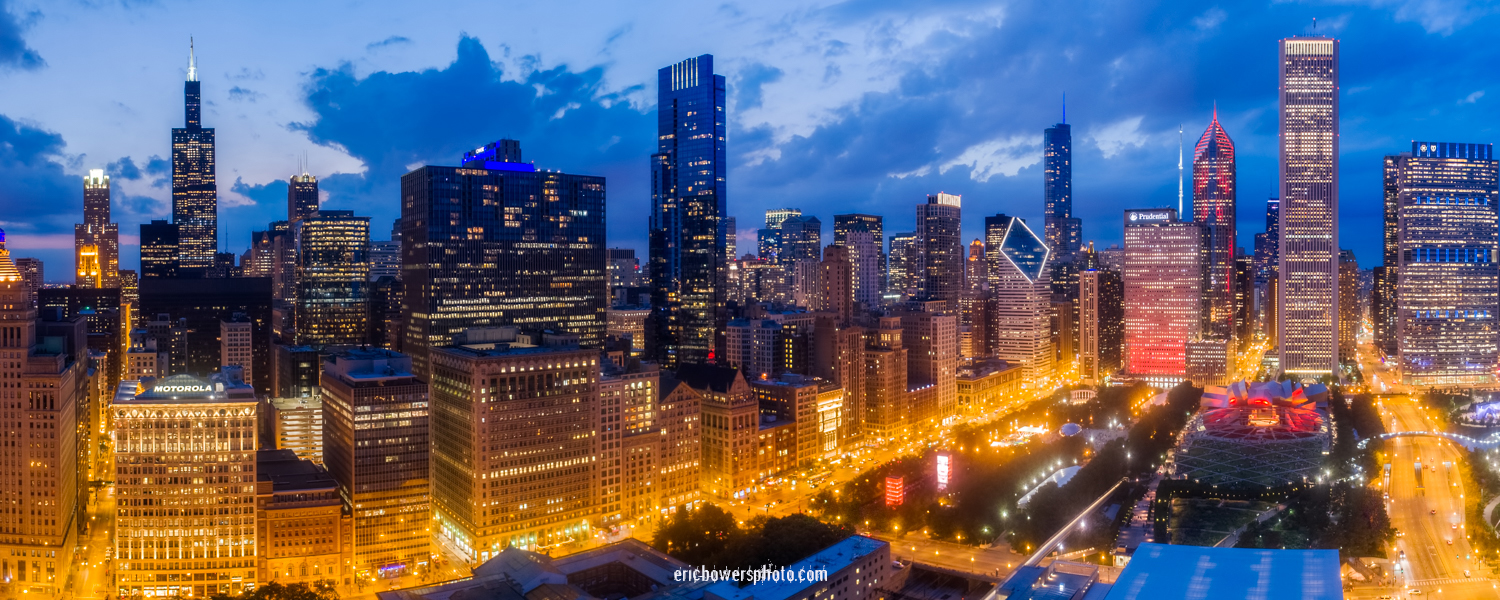 Chicago Loop Skyline Aerial Panoramic Pic