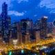 Chicago Loop Skyline Aerial View