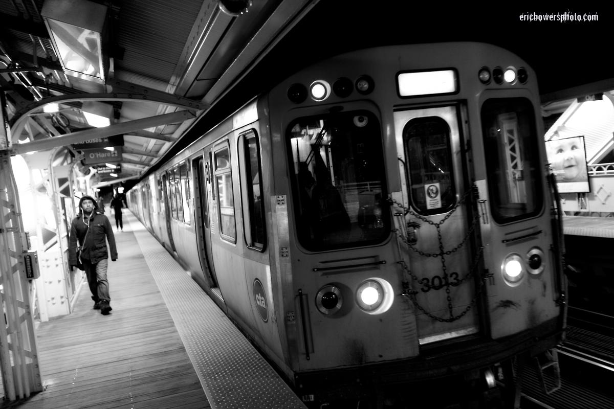 Chicago Damen Blue Line El at Night Pt 2