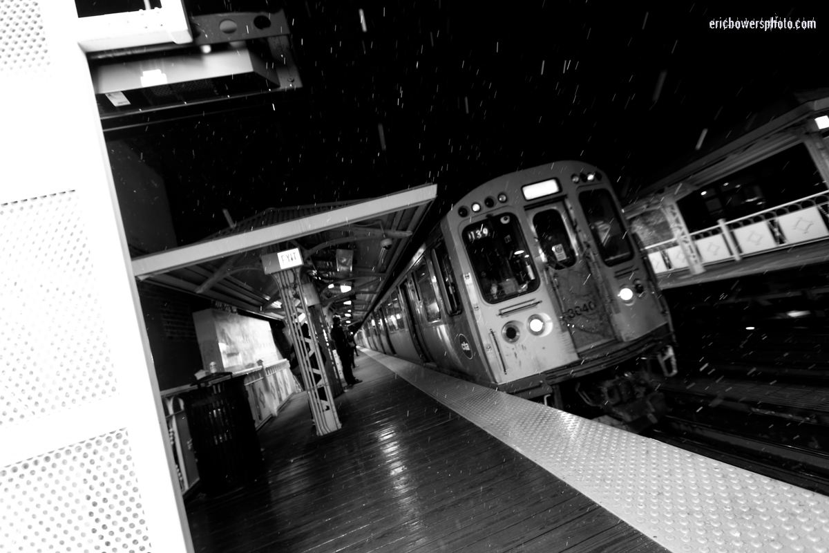 Chicago Damen Blue Line El at Night