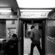 Chicago El Train Exit To Platform Black & White