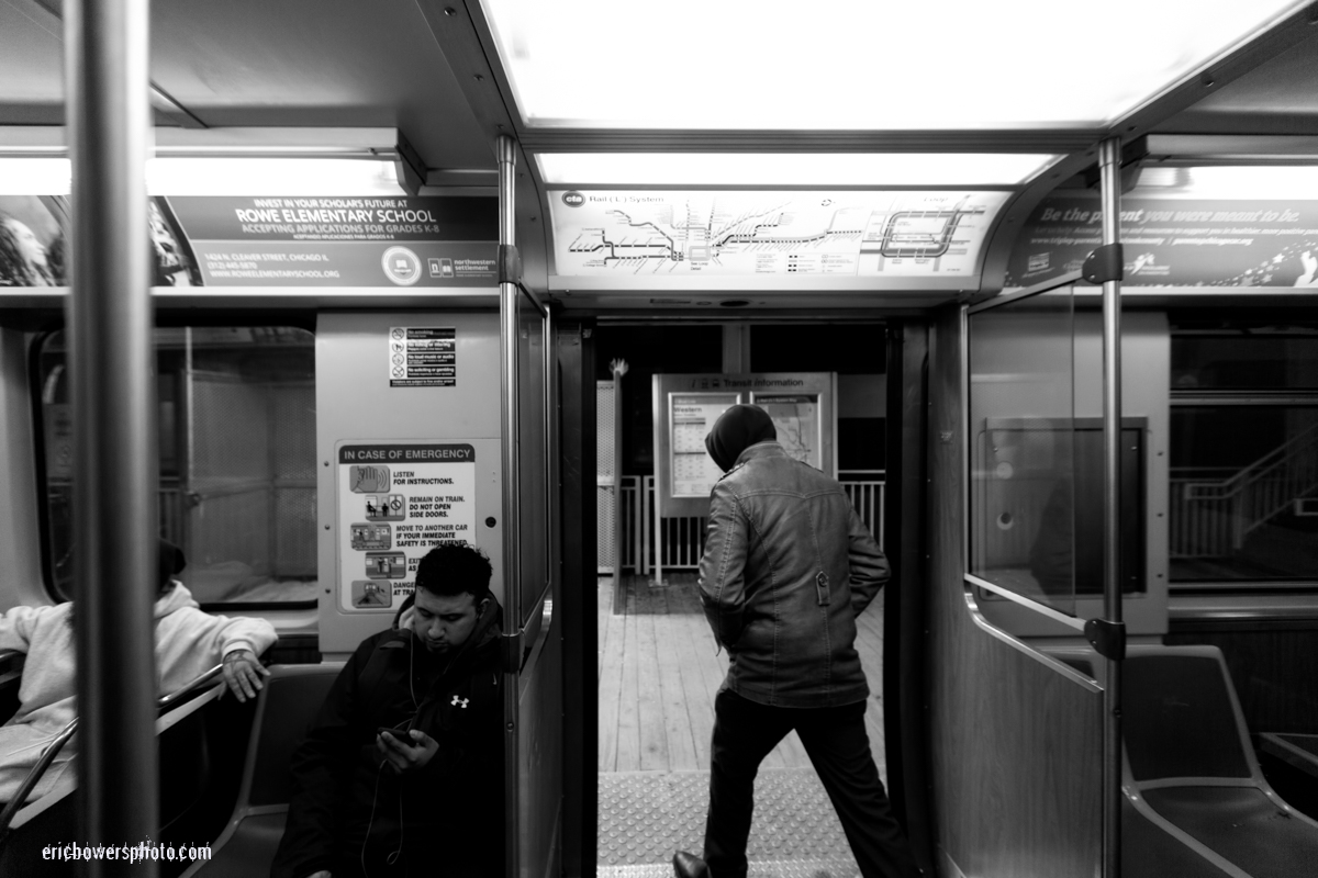 Chicago El Train Exit To Platform Black & White